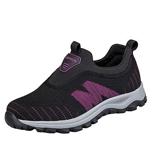 Willsky De Las Mujeres Plano Ocasional Zapatillas De Deporte De Ancianos Caminando Zapatos Ligeros Para No Slip Slip-On Aire Libre Zapatillas,Púrpura,37EU