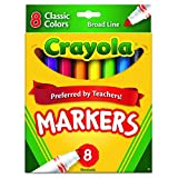 CRAYOLA non-Washable Markers, Broad Point, Classic Colors, 8/Set (58 – 7708)