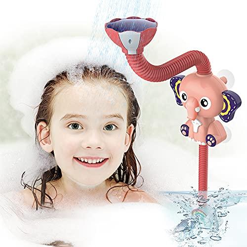 EARSOON Kinder Badespielzeug Bad Duschkopf – Elektrischer Elefant verstellbarer Duschkopf Badewanne Sprinkler Spritzwasser Spielzeug für Kinder Badezeit Spiel ab 3 Jahren
