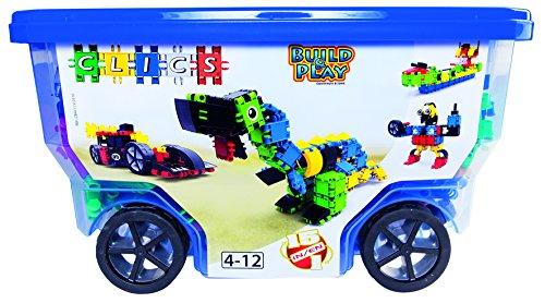 Clics Konstruktionsspielzeug für Kinder ab 3 Jahre, kreatives Lernspielzeug im 377 Teile Set, Bausteine für Mädchen und Jungen, Montessori STEM-Spielzeug, Box mit Rollen 15 in 1,