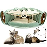 Kumikiwa Cat Tunnel Bed, 2-in-1 Collapsible Cat Tunnel Tubes Toys with...