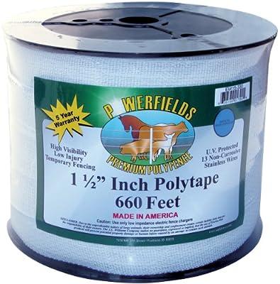 Powerfields EW15-660 1.5-Inch Wide Polytape, 660-Feet, White
