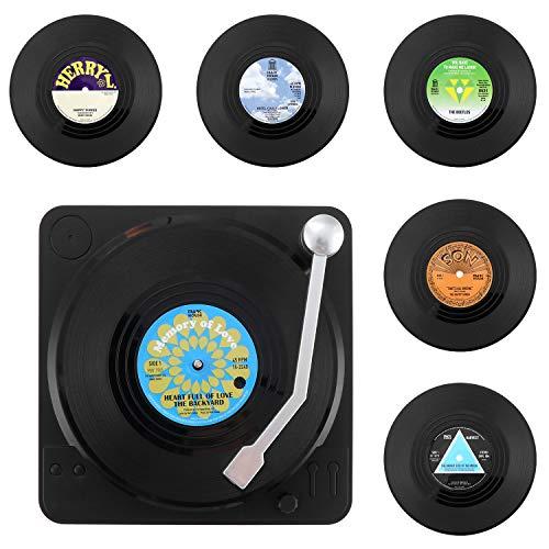 KEESIN 6-teilige rutschfeste Vinyl-Untersetzer, isolierte Retro-CD-Schallplatten-Kaffeetassenmatte mit Halter (Green)