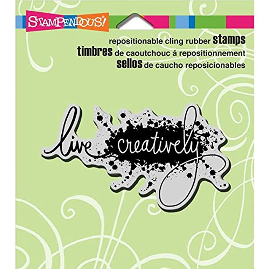 STAMPENDOUS Cling Rubber Stamp, 3.5 by 4-Inch, Live Creat