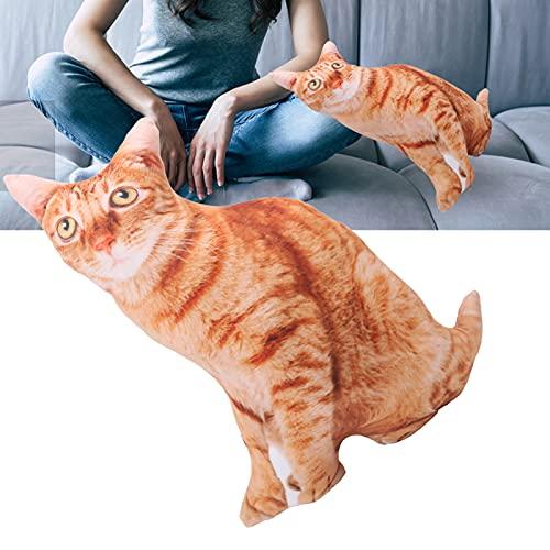 Cojín de Gato Relleno en 3D, cojín elástico Suave con Forma de Gato portátil para Mirar televisión para sofá Cojín para Leer en la Cama para cojín de Espalda(Cat Pillow)