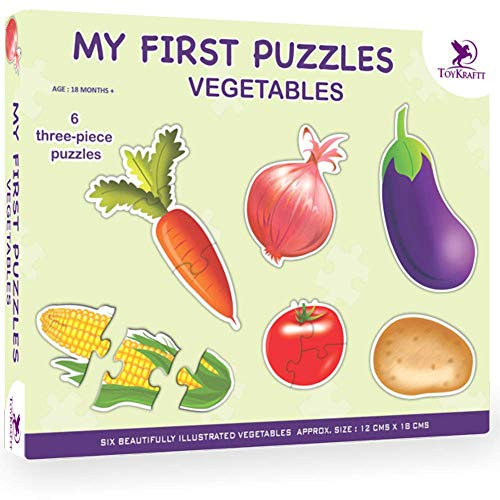 ToyKraft: My First Puzzles - Vegetables | 2-3 Puzzles for 3-4 Year Olds | Chunky Puzzles | Toddler Matching Puzzles | Puzzle for Kids Ages 3-5