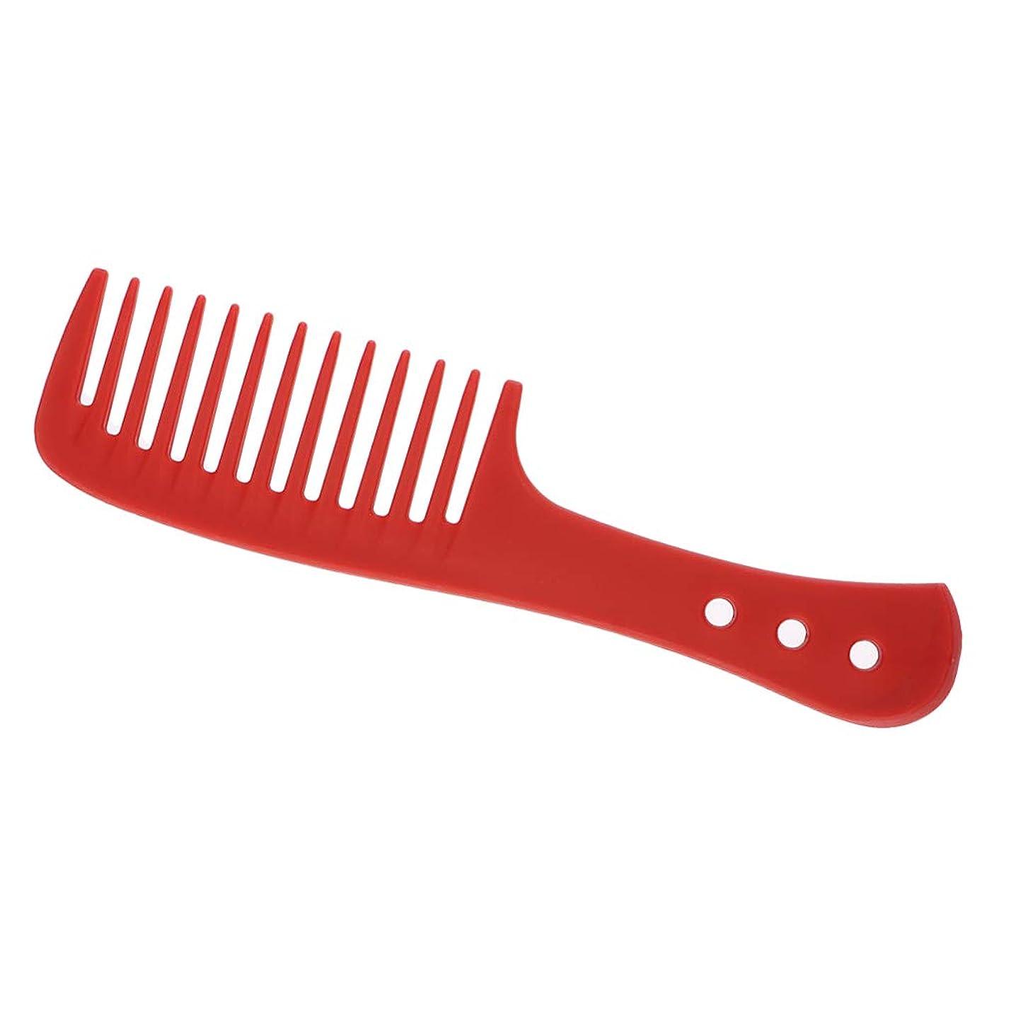 敬意を表してハントまろやかなPerfeclan 櫛 ヘアブラシ ヘアコーム 広い歯 耐久性 耐熱性 帯電防止 4色選べ - 赤