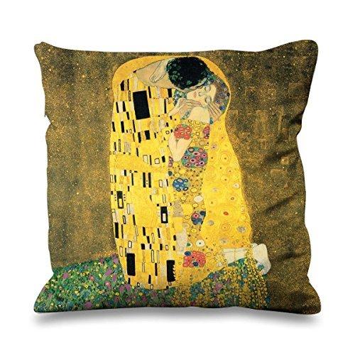 Gustav Klimt The Baci Finta Seta 45cm x 45cm Divano Cuscino