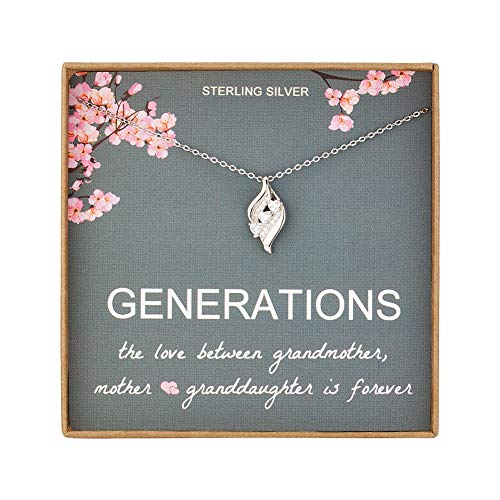 AnotherKiss Generations Necklace Gifts - Sterling Silver Three Love Heart Necklaces for Grandma Mom Granddaughter, Mothers Day Jewelry Birthday Gift