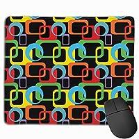 Geometric Retro Multicolored デスクマット マウスマット ゲーミングマウスパッド - 防水性 耐油性 キーボードマット PU デスクパッド PC机 マット 光学式マウス対応 ノートパソコン対応 耐洗い表面 9.8*11inch
