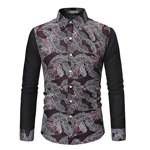 WINJUD Men's Dress Shirts Fashion Personality Stitching Printed Long-Sleeved Casual Shirt Blouse(Red,2XL)