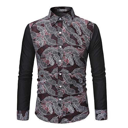 SETSAIL Herren Langarm-Shirt Mode Persönlichkeit Nähen gedruckt Bluse Freizeit Hemd Slim Fit Langarmhemd Freizeit Business Party Shirt Bequemes Shirt Dünnschnitt Alltagskleidung