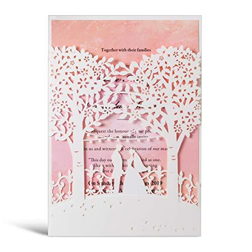 WISHMADE Laser Cut Trees Hochzeitseinladungen Karte 20 Stück Braut und Bräutigam Design Elegante Verlobungskarte Einladungskarten mit Umschlägen, Weiß & Rosa