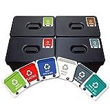 Pegatinas para reciclaje, 6 unidades. Vinilo adhesivo, paquete de 6 etiquetas de 4,8 x 4,8 cm.