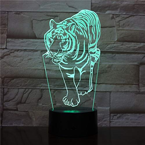 3D Night Lights Tiger Animal with 7 Colors Light for Home Decoration Lamp Amazing Visualization Optical Bedroom Decoration Light