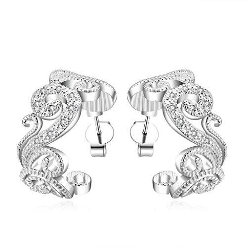 Bishilin Damen Schmuck 18K Weiß Vergoldet Tropfen-Ohrringe Für Jugend Mädchen Totem Efeu Pflanze Kristall CZ