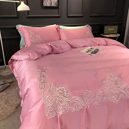 Yaonuli hoogwaardig, actief printen en kleuren van gewassen zijde, effen borduurwerk, 4-delige poeder, dekbedovertrek, 1,5 tot 1,8 m, 200 x 230
