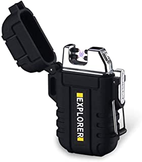 Waterproof Dual Arc Lighter,USB Rechargeable Windproof Flameless Electric Lighter with Lanyard for Outdoors Adventure Camping Hiking(Black)