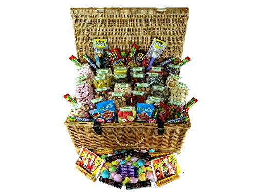 Extra Large Retro Sweet Hamper : A Wicker Hamper Filled with Awesome Sweets