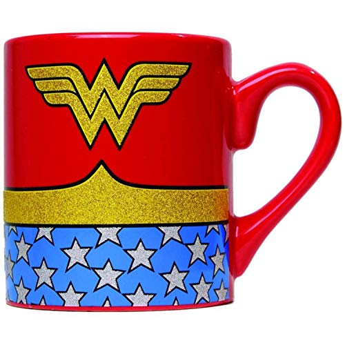 DC Comics WW0132G Wonder Woman Uniform Glitter Ceramic Mug, 14 oz, Multicolor