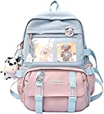 Kawaii Backpack for School Japanese, Aesthetic Backpack for Women Girls Cute Korean Style Bags with with Kawaii Pin and Accessories (Blue)
