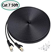 Cat7 Ethernet Cable 50 FT, High Speed Long Lan Cable Flat Network Patch Cable with Clips, Faster Than Cat6 Cat5e, Shielded RJ45 Connectors for PS4,Gaming, Ethernet Switch, Modem,Router,Black