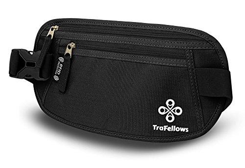 Premium Reise-Bauchtasche mit RFID-Blocker für Damen & Herren - Leichte Hüfttasche enganliegend - Gürtel-Tasche für Sportler & Reisende - Flacher Geld-Gürtel - Brustbeutel-Alternative (Schwarz)