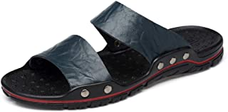 TGGongshengf Slippers For Men Casual Sandals Slip On Style OX Leather Rivet Reinforcement Pure Colors (Color : Blue, Size : 49 EU)