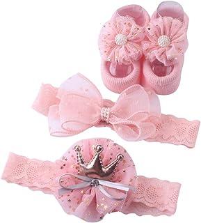 Carolilly, Calcetín y diadema para bebé niña, calcetín y diadema con lazo de encaje