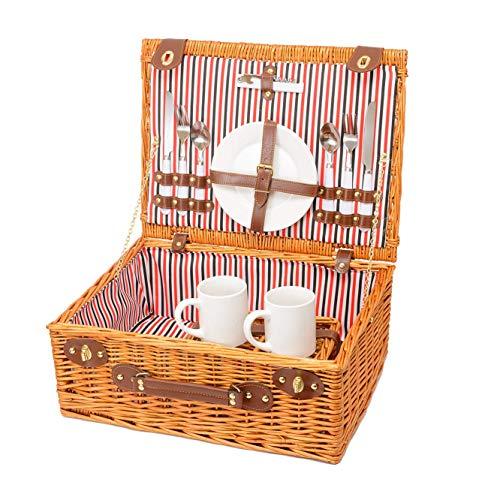 Miyagi Tea Europe Tweepersoons Traditionele Vintage Gouden rieten mand picknickmand met bestek, borden, bekers, servies en servies