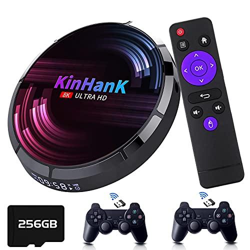 Kinhank Super Console X Max Retro-Videospielkonsole mit 50.000+ Spielen, EmuELEC 4.2/Android 9.0/CoreELEC 3 Systeme in 1,4K UHD Ausgang, unterstützt PS1/PSP/DC/SEGA Saturn, 2,4 G + 5G Dualband WiFi (256 GB)