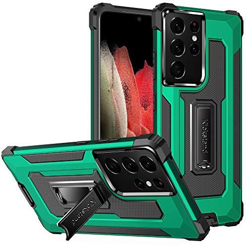 TOPOFU Funda para iPhone SE 2020, Funda Protectora para teléfono de Grado Militar con Soporte Mejorado [Soporte magnético], Suave Tapa Trasera de TPU, Verde Oscuro