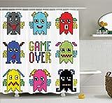 Nyngei Setde sdepara esde los años 90 Pixel Robot Emoticons with Game Over Sign Inspirado en los juegosde computadorade ladécadade los 90 Artículosde divertidosde Artprint Long Yellow Red