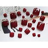 SeniorMar 24 Piezas Uñas postizas Uñas de los pies Uñas postizas Diseños Especiales Parche de Desgaste Cuadrado Corto Pies Kit de Arte de Belleza de uñas