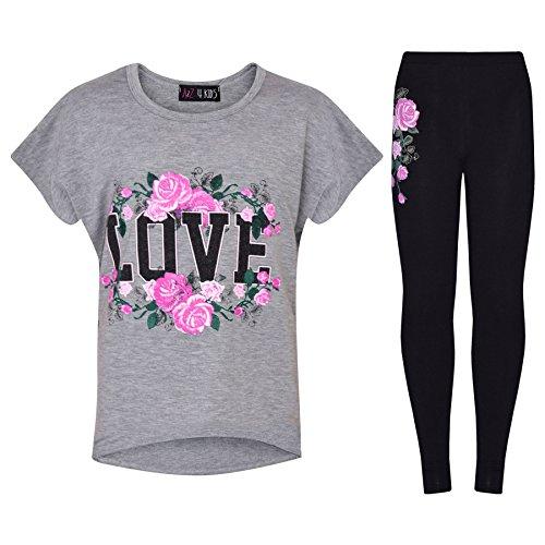 A2Z 4 Kinder Mädchen Top Kinder Love Aufdruck T-Shirt Tops & Mode Legging Satz -Grau -9-10