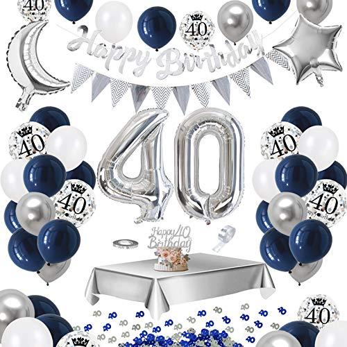 APERIL Decorazioni Compleanno 40 Anni in Bleu Argento, Palloncini Compleanno, Decorazioni per Feste Addobbi Compleanno per Uomini e Donne, Palloncini 40 Anni Tovaglia Konfetti