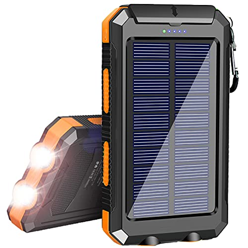 Solar Charger 20000mAh, Portable Waterproof Solar Power Bank for Cellphones, External Backup Battery Pack Solar Panel Charger Dual USB Outputs/LED Flashlights,Compatible with Tablets and Other Devices