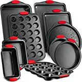 Nutrichef NCSBS8S 8-Piece Carbon Steel Nonstick Bakeware Baking Tray Set w/Heat Red Silicone Handles, Oven Safe Up to, 450°F, Pizza Loaf Muffin Round/Square Pans, Cookie Sheet