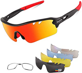 Polarized Sports Sunglasses Cycling Sun Glasses for Men Women with 5 Interchangeable Lenes for...