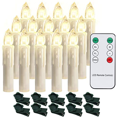 Hengda 40X Weinachten LED Kerzen Dimmbar Lichterkette Kerzen Warmweiß Weihnachtskerzen Weihnachtsbaum Kerzen mit Fernbedienung Kabellos