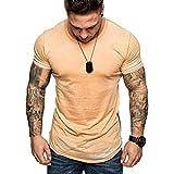 Tee Shirt Homme,Homme Blouse Chemises T-Shirt Slim Fit à Capuche à Manches Courtes en Coton Muscle Casual Fitness Sports Couleur Unie Tops Blouse