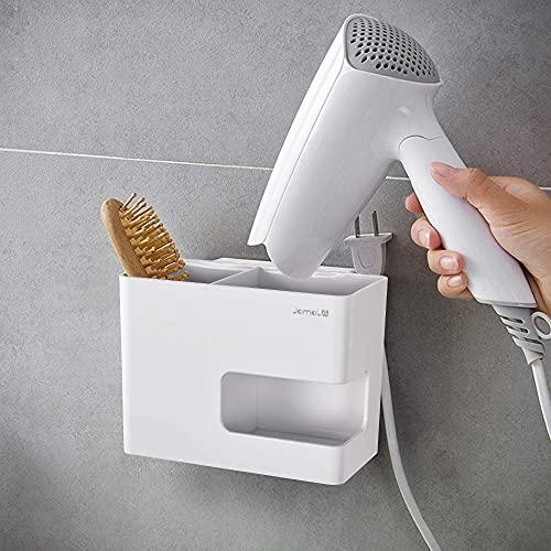 JOMOLA - Soporte para secador de pelo para montar en la pared, organizador de herramientas de estilo adhesivo, cesta de almacenamiento para secadora de soplado, para cocina, color blanco