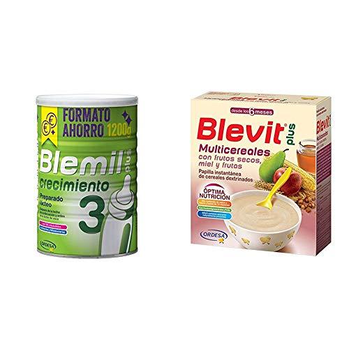 Blemil Plus 3 Crecimiento - 1200 g + Blevit Plus Multicereales con Frutos Secos - Paquete de 2 x 300 g - Total: 600 g