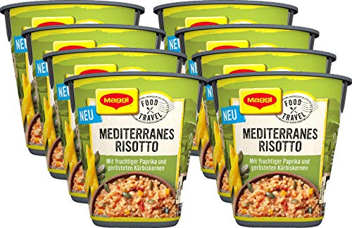 Maggi Food Travel Cup Mediterranes Risotto mit fruchtiger Paprika & gerösteten Kürbiskernen, 8er Pack (8 x 66g)