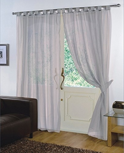 viceroy bedding Pair of Plain Voile TAB TOP Curtain Panels + Free Tiebacks Included (59' x 72', Silver Grey)