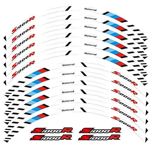 12 PCS Ajustar la Etiqueta de la Rueda de la Rueda de la Rueda de la Rueda de la Raya del Borde Reflectante para S1000R Pegatinas para Moto (Color : 8)