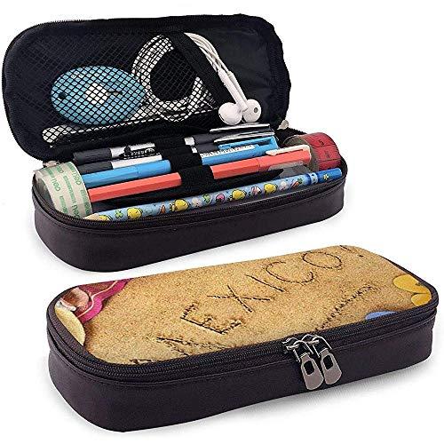 Mexikanischen Strand Mexiko Decke Hut Flip-Flops auf Sand Bleistift Stift Tasche Tasche Inhaber Geldbörse Kosmetik Make-up Tasche