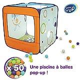 LUDI - Piscine à balles en tissu et structure pop-up 90 x 90 x 90 cm. Dès 2 ans. 50 balles. Se plie et se range dans un sac. Tissu résistant pour une utilisation en intérieur et extérieur - 90002