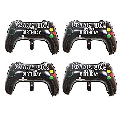 Gamer Balloons,4 Packs Video Game Party Balloons,23.6 x 15.7 Inch Game on Balloons Video Game Controller Aluminum Foil Balloon for Birthday Party and Game Party Decoration by QPEY by QPEY