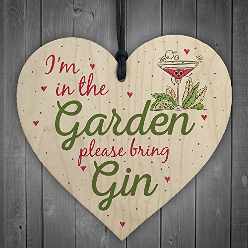 RED OCEAN In The Garden Bring Gin Wall Garden Shed Plaque Decor Alcohol Sign Funny Friendship Gift
